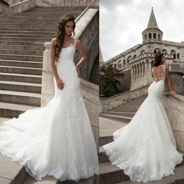 Affordable Wedding Gowns Online: New Arrival Lace Wedding Dresses Backless 2016 Cheap Sheer
