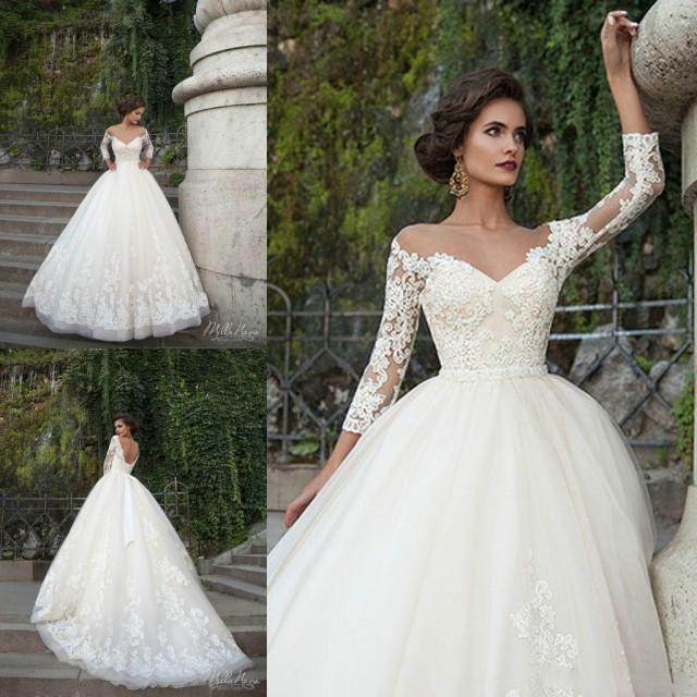 2018 Fashion Simple Beige Wedding Dresses Full Sleeve: Sexy Milla Nova Wedding Dresses 3/4 Long Sleeve Sheer