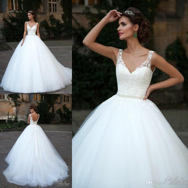 New Style Milla Nova Wedding Dresses V Neck Spring Tulle Applique Chapel Train Vestido De Novia