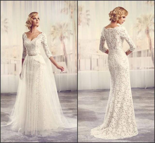 V Neck Wedding Dresses With Sleeves : Suki lace wedding dresses v neck long sleeves covered buttons
