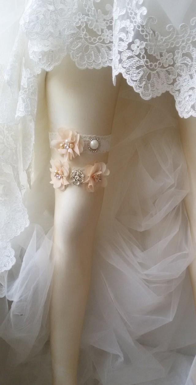 wedding photo - Wedding garter, Wedding leg garter, Weddings , Bridal accessoary, Champagne wedding garter, Chiffon Flower Rhinestone Lace Garters