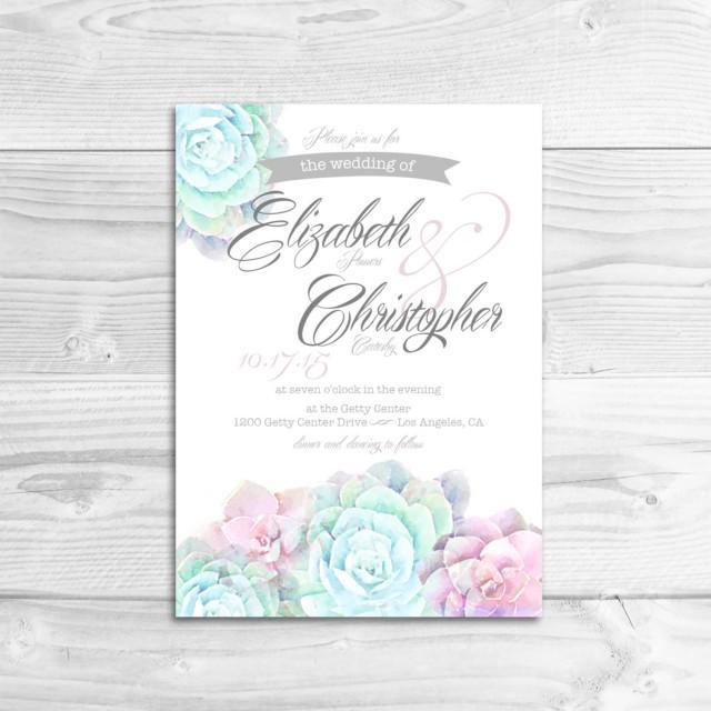 Watercolor Succulent Wedding Invitation DIY Printable Invitation Rustic Wedding Whimsical