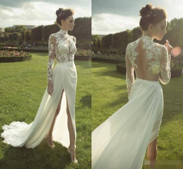 Bohemian lace ester 2016 arabic beach wedding dresses high for High neck backless wedding dress