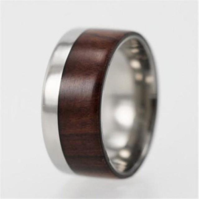 Titanium Ironwood Ring Modern Design Wide With Ironwood Inlay Mens