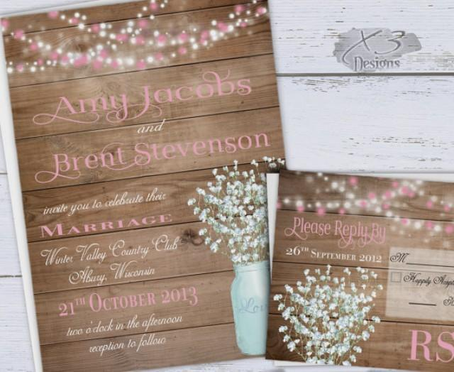wedding photo - Rustic Wedding Invitations, Printable Pink Spring Wedding Invitations, Summer Country Wedding Invites, Baby's Breath, Mason Jar, String Lights