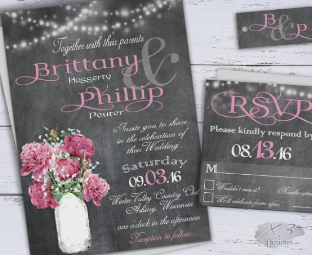 Printable Country Wedding Invitations, DIY Rustic Wedding Invitation, Chalkboard Wedding Invites ...