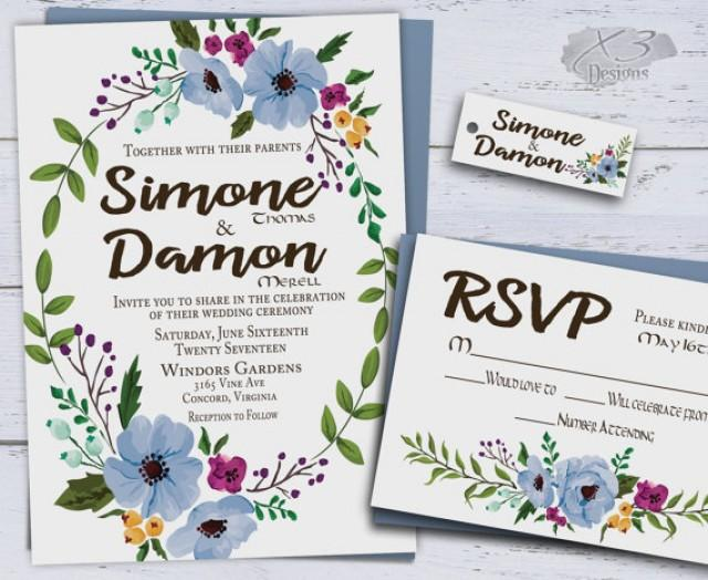 Printable Floral Wedding Invitations Country Wedding Invite Boho Spring Wedding Invitations