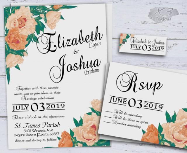 wedding photo - Country Wedding Invitations, Printable Peach Summer Wedding Invitation, Spring Floral Wedding Invites, Calligraphy, Rustic, Boho, Peonies,