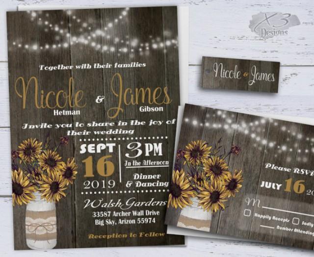 wedding photo - Printable Country Wedding Invitations, Sunflower Wedding Invitations, Western Wedding Invites, Rustic Wedding Invitation w/ Mason Jar