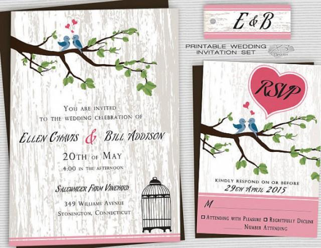 wedding photo - Printable Backyard Wedding Invitations, Country Wedding Invites, Rustic Wedding Invitation w/ Birdcage & Love Birds