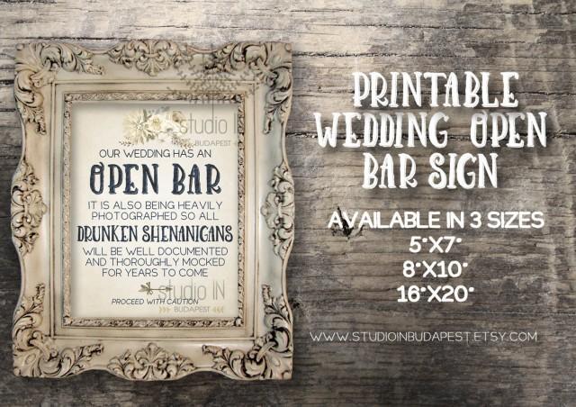 Open bar sign rustic wedding reception