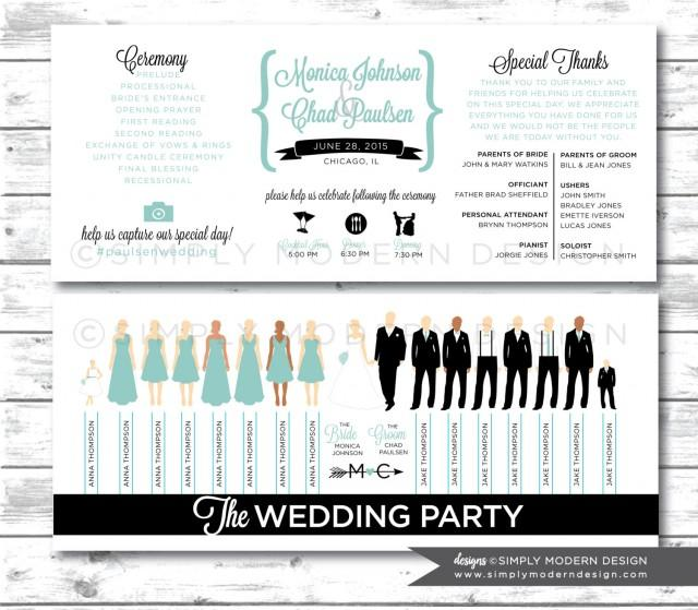Wedding Program, Ceremony Program, Wedding Party Silhouettes ...