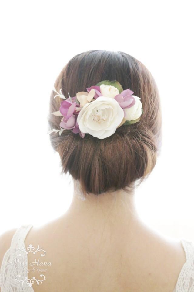 Bridal Hair Accessory White Camellia Purple Hydrangea Bridal Hair Comb Hairpiece Flower