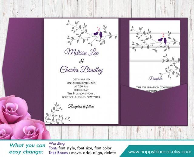 Diy printable pocket wedding invitation template set for Editable wedding invitation templates free download