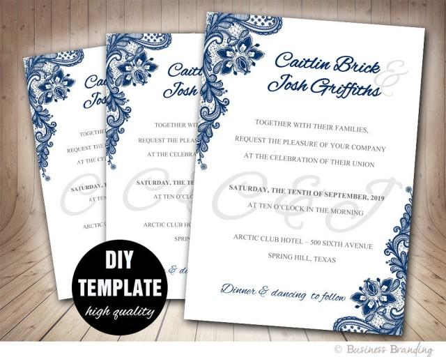 navy blue wedding invitation template diyinstant download With free printable navy blue wedding invitations