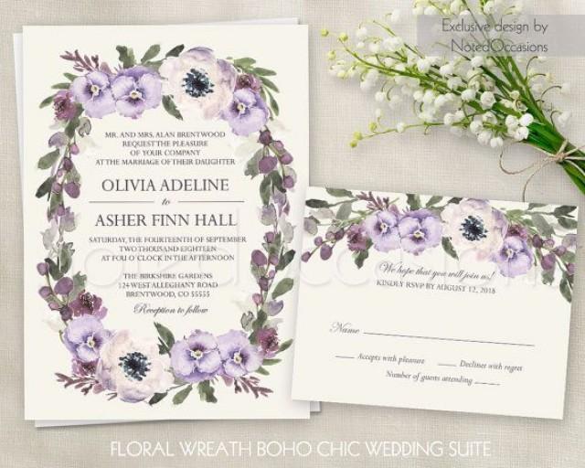 floral wedding invitation printable suite boho wedding invite floral wedding customizable. Black Bedroom Furniture Sets. Home Design Ideas