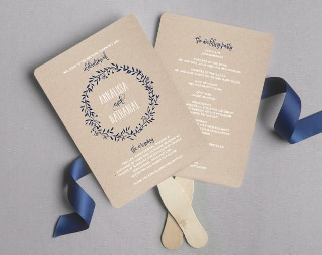 Wedding program fan wedding program printable navy wedding programs rustic wedding printable for Wedding program fans templates free