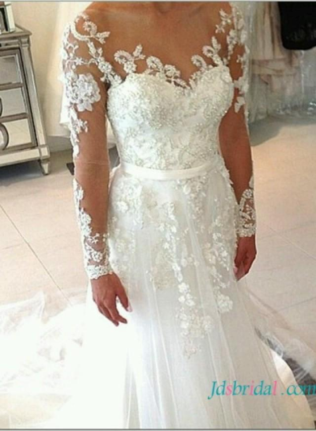 Beaded sheer top mermaid wedding dress with long sleeves for Long sleeve beaded wedding dress