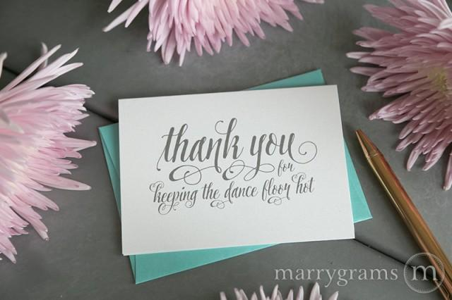 wedding card to your dj musician - thank you for keeping the dance floor hot