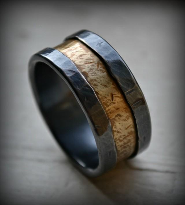 Mens Wedding Band Rustic Fine Silver And Brass Ring Handmade Oxidized Artisan Designed Wedding