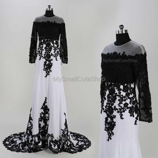 White and black prom dresses lace applique bridesmaid for Black long sleeve wedding dresses