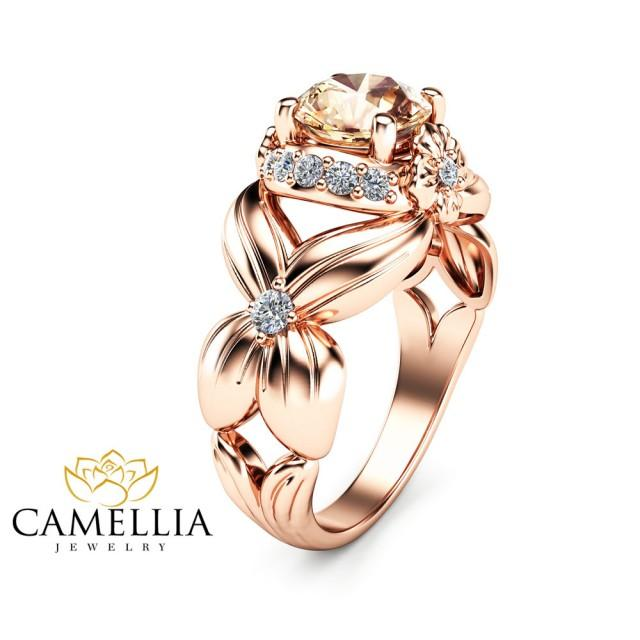 Flower Design Morganite Engagement Ring 14K Rose Gold Morganite Ring Unique F