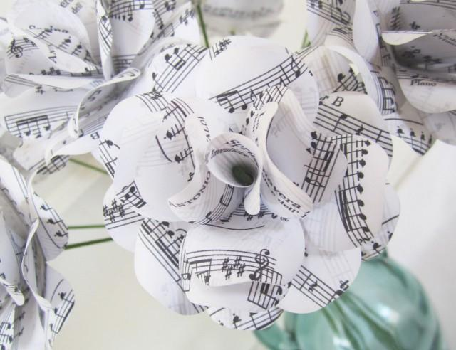 Paper anniversary gift white sheet music roses with your for Paper roses sheet music free