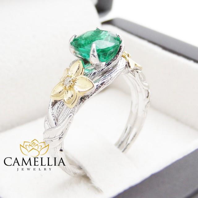 unique emerald engagement ring 14k white gold twig