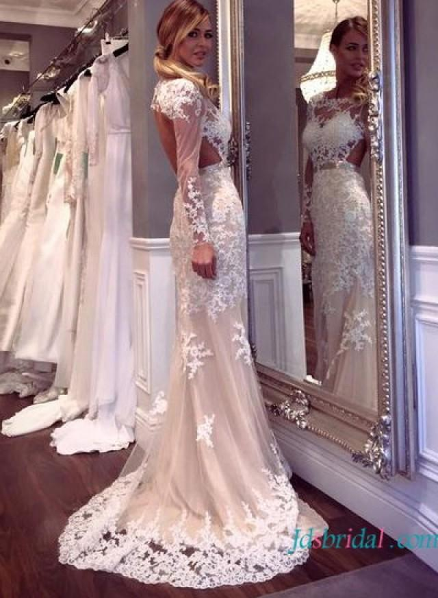 Sexy Cut Out Open Back Lace Sheath Wedding Dress With Sleeves ...