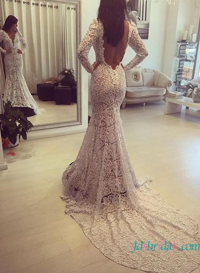 Lace Mermaid Wedding Dress With Open Back 99
