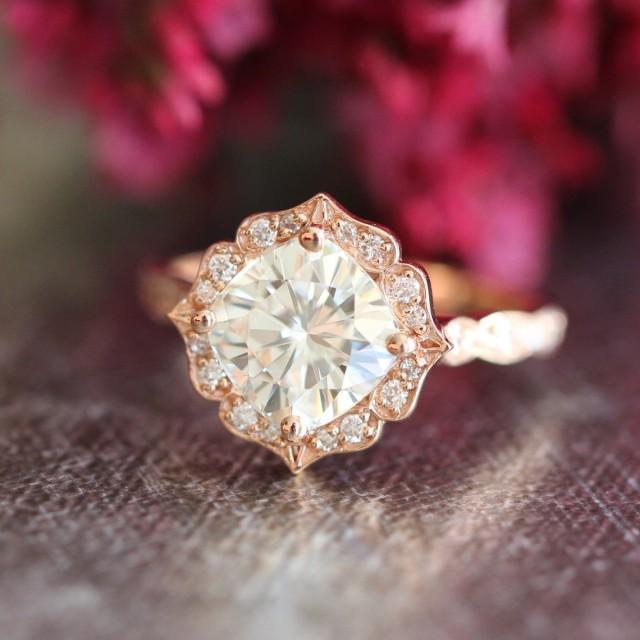 14k Rose Gold Moissanite Engagement Ring Vintage Floral Ring Scalloped Diamon