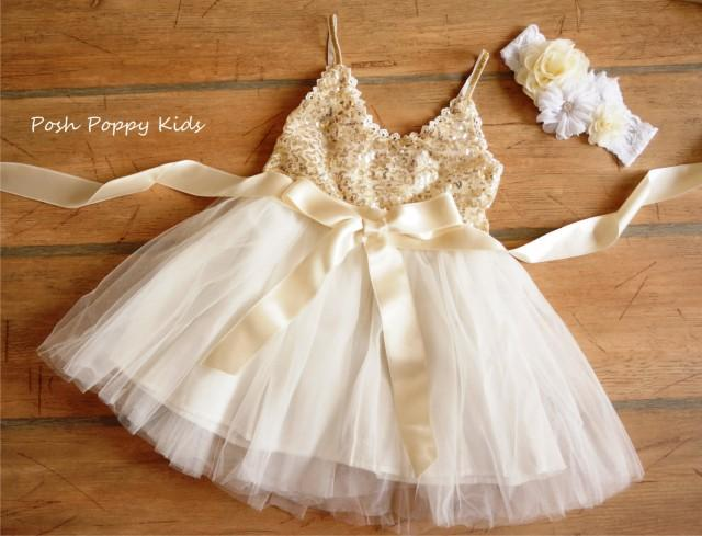 Gold Sequin Tulle Flower Girl Dress Sash Belt Set Gold