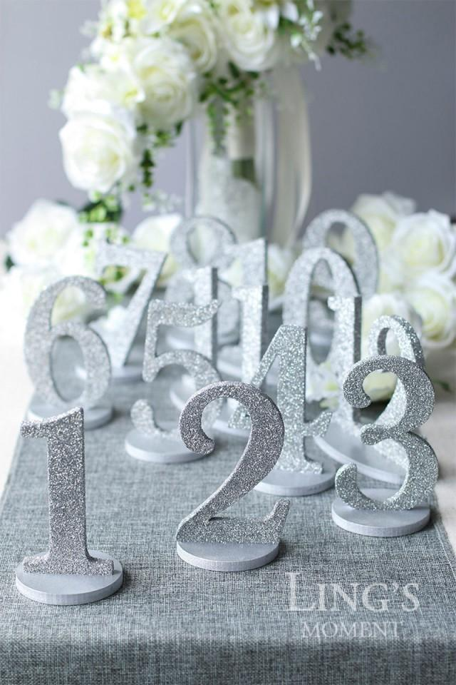 Table numbers 1 25 set glitter wedding table numbers gold - Deco table campagne ...