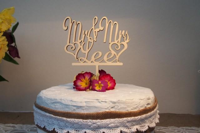 Mr And Mrs Surname Wedding Cake Topper, Personalised