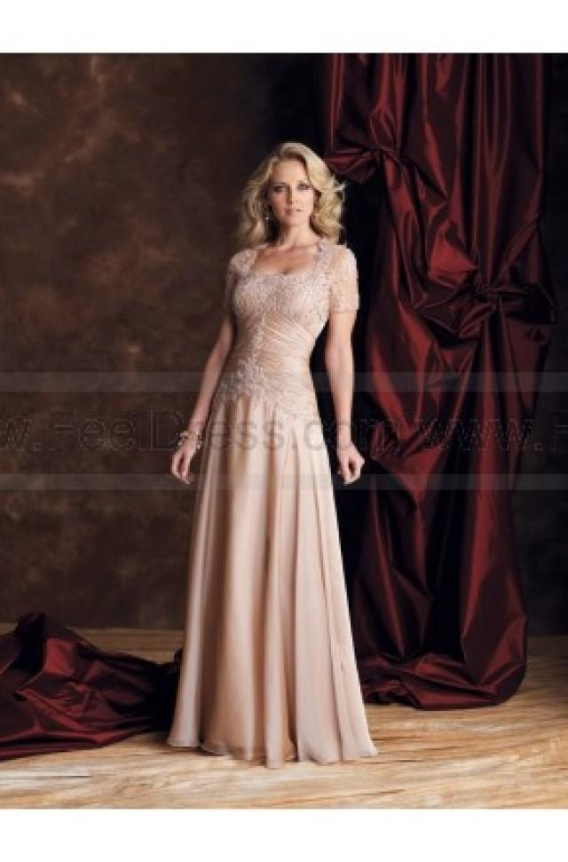 wedding photo - A-line Floor-length Strapless Chiffon Champagne Mother of the Bride Dress