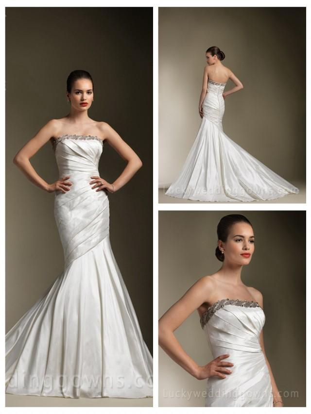 wedding photo - Mermaid Pleated Strapless Wedding Dress with Beaded Trim Accents Perfect