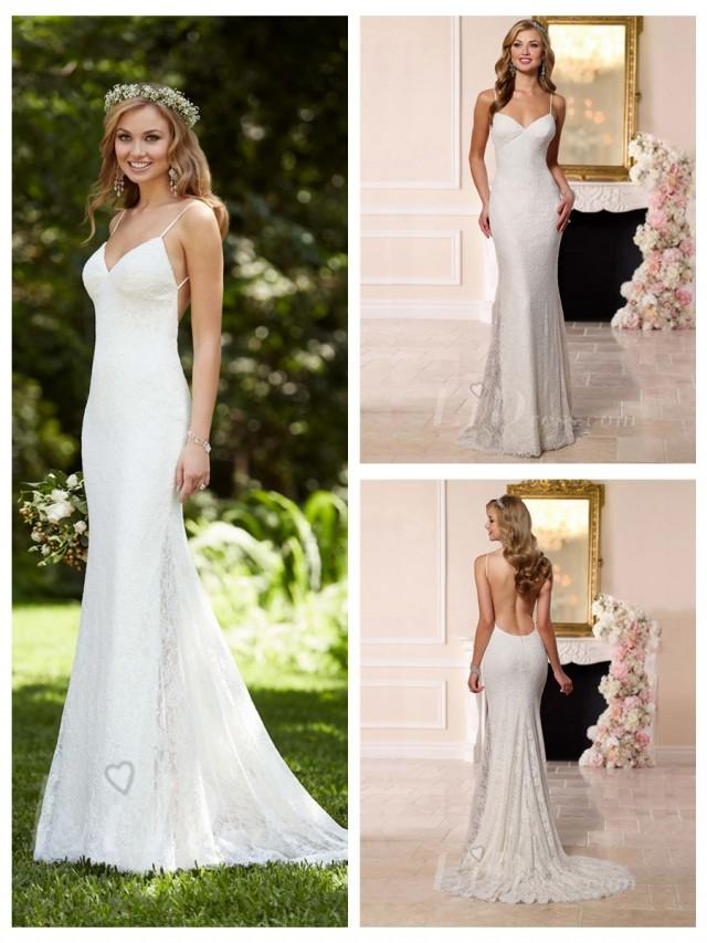 Dreamatic Spaghetti Straps Low Back Sheath Wedding Dress