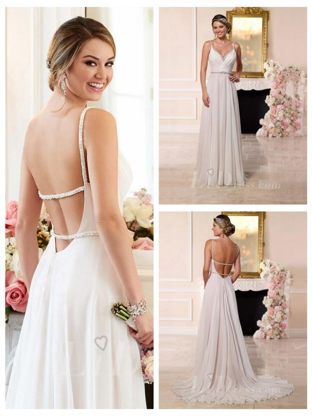 wedding photo - Beaded Straps and Sweetheart Neckline Low Open Back Wedding Dress