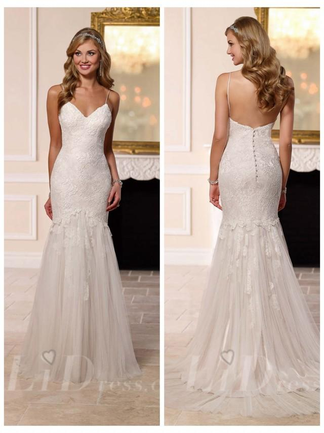 wedding photo - Spaghettis Straps Sweetheart Fit and Flare Wedding Dress