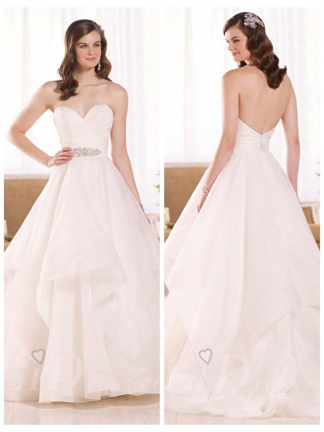 wedding photo - Elegant Fit and Flare Sweetheart Wedding Dress with Illusion Tulle Back