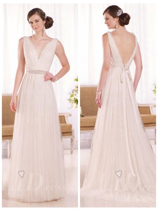 wedding photo - Sheath Daringly Low V-neck and Back Wedding Dress