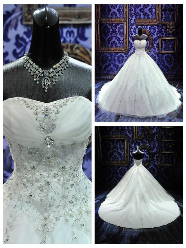 wedding photo - Hand Crafted Embroidery Soft Sweetheart Beaded Ball Gown Wedding Dress