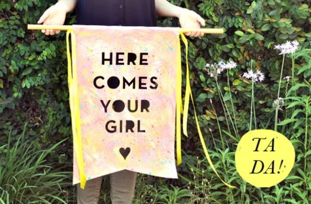 1473a736711f Funny DIY Here Comes The Bride Banner - Weddingomania - Weddbook