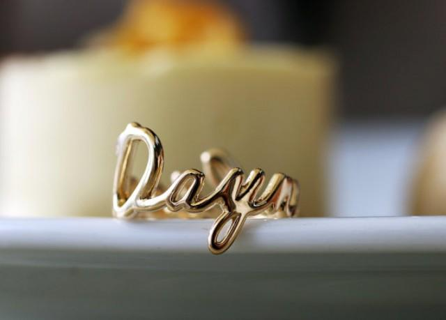 18k solid gold personalized name ring custom name ring