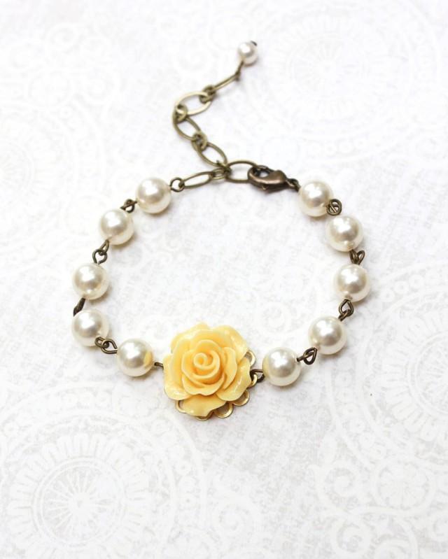 Bridal Flower Bracelet : Bridemaids gift yellow rose bracelet pearl flower