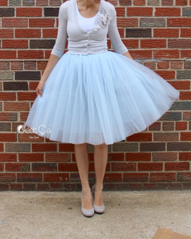 a428ecb847a8b wedding photo - Clarisa Blue Gray Tulle Skirt - Regular Midi