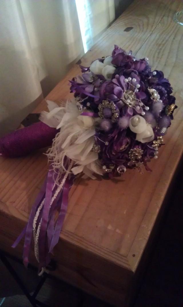 Bridal Bouquet Vintage Brooch Purple Wedding Bride Flowers Bouquet Vintage Floral