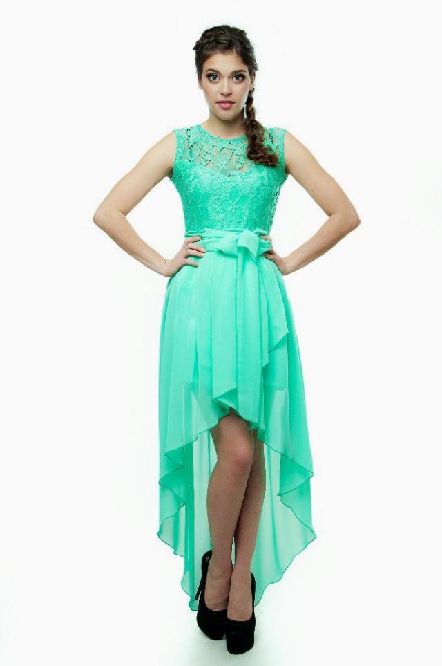 Bridesmaid Dress Mint Lace Party Dress Mint Asymmetrical ...