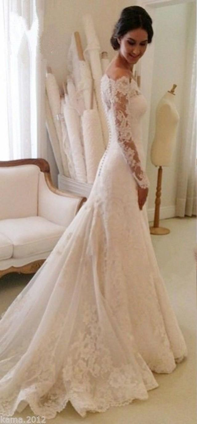Elegant lace wedding dresses white ivory off the shoulder for Lace white wedding dress