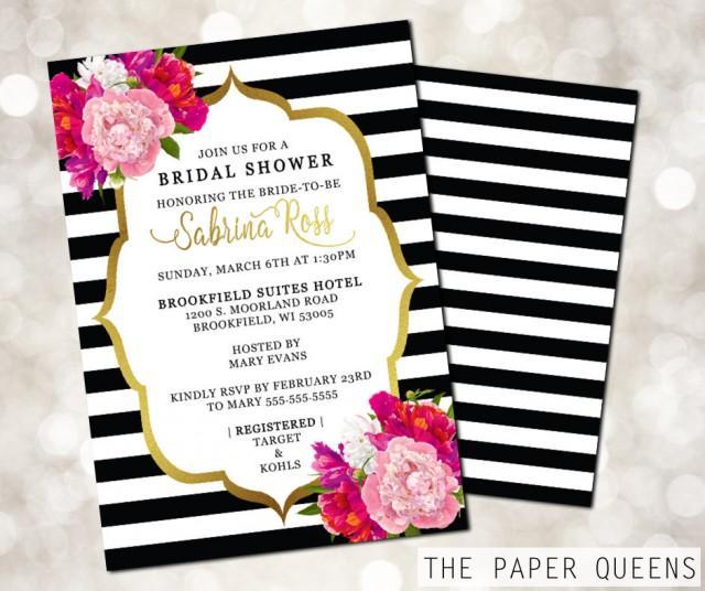 invite wedding invite invitations kate spade stripes flowers